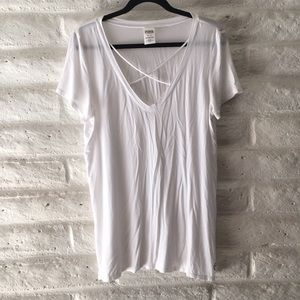 Pink by VS white crisscross neck t-shirt